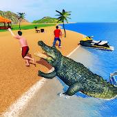 icono simulador de cocodrilo 2019: playa y ataque