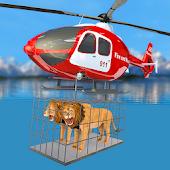 icono rescate de animales: helicóptero del ejército